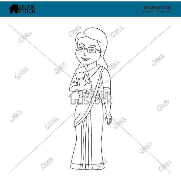 49 Indian teacher female outline